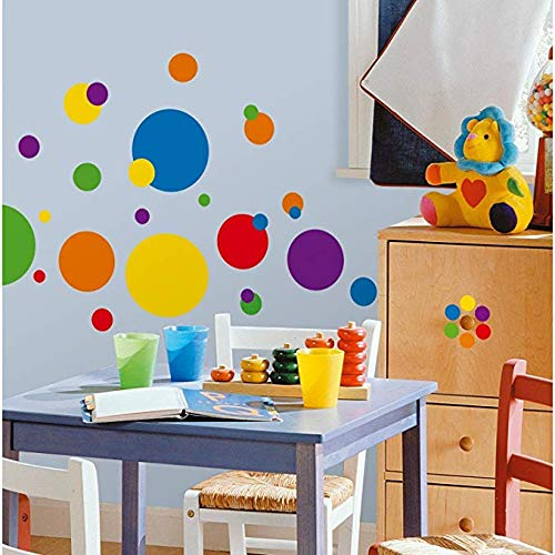 BUCKOO Polka Dots DIY Wall Decals 132PCS Easy to Peel&Stick Polka Dots Wall Decals Safe on Walls Paint Removable Primary Colors Vinyl Polka Dot Decor Round Wall Stickers for Nursery Room (Multicolor)