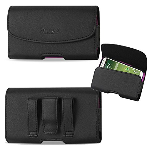 Horizontal Executive Leather Case with Magnetic Closure, Belt Clip and Belt Loops for HTC One M8 with an UAG Urban Armor Gear Case on it.