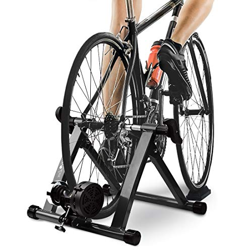 Bike Trainer Stand with 8 Resistance Setting, Portable 27'-29' Indoor Bicycle Trainer w Quiet Noise Reduction - Stationary Cycling Exercise for Road & Mountain Bikes