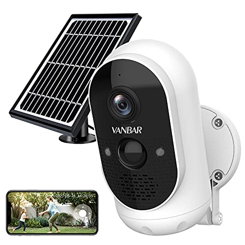 Outdoor Security Camera System Wireless,VANBAR Solar Powered WiFi Smart Home Camera with Battery, FHD 1080P Video Surveillance Cam with Night Vision/Instant Alerts/Motion Detection/Two-Way Audio