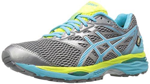 ASICS Women's Gel-Cumulus 18 G-TX Running Shoe, Aluminum/Aquarium/Neon Lime, 7 M US
