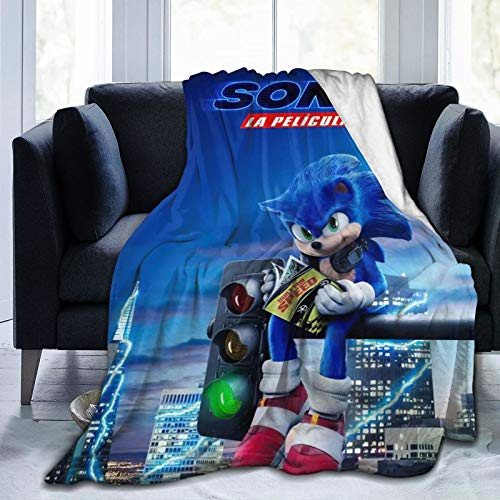Boldrole Sonic Hedgehog Blanket All Season Super Soft Cozy Bed Sofa Blanket Air Conditioner Quilt for Kids Teenager Adults