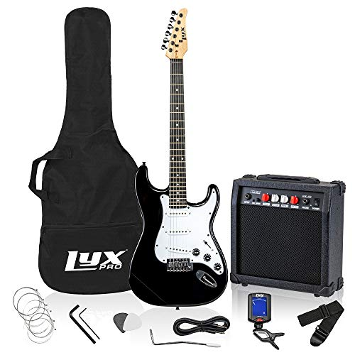 LyxPro Electric Guitar 39' inch Complete Beginner Starter kit Full Size with 20w Amp, Package Includes All Accessories, Digital Tuner, Strings, Picks, Tremolo Bar, Shoulder Strap, and Case Bag - Black