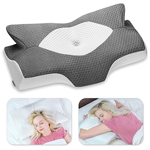 Elviros Cervical Memory Foam Pillow, Contour Pillows for Neck and Shoulder Pain, Ergonomic Orthopedic Sleeping Neck Contoured Support Pillow for Side Sleepers, Back and Stomach Sleepers (Dark Grey)