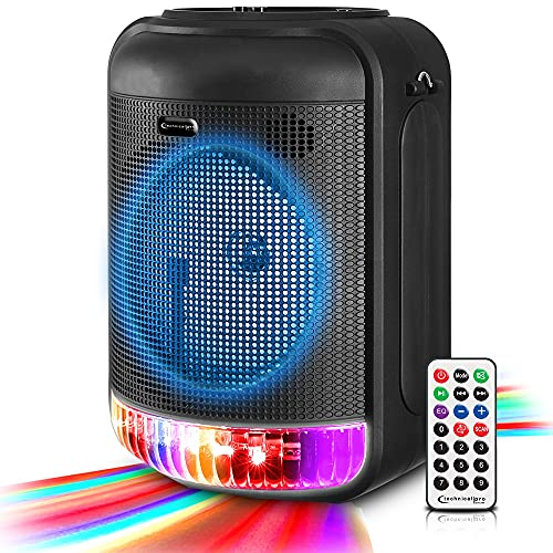 Technical Pro 600 Watts Rechargeable 8' Bluetooth LED Speaker with USB, Aux, Mic Inputs, FM Radio, TWS Stereo Sound, and Carry Handle