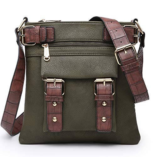 Dasein Top Belted Crossbody Bags for Women Soft Leather Messenger Bag Shoulder Bag Travel Purse (large size-army green)