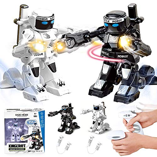 dulcii RC Battle Boxing Robot/Toys, Remote Control 2.4G Humanoid Fighting Robot, Two Control Joysticks Real Boxing Fight Experience (Black & White)