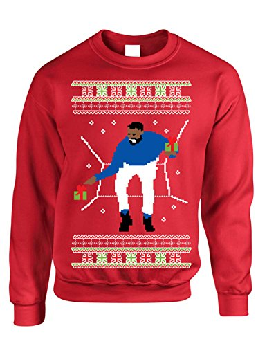 Allntrends Adult Crewneck 1-800 Hotline Bling Ugly Christmas Sweater (2XL, Red)