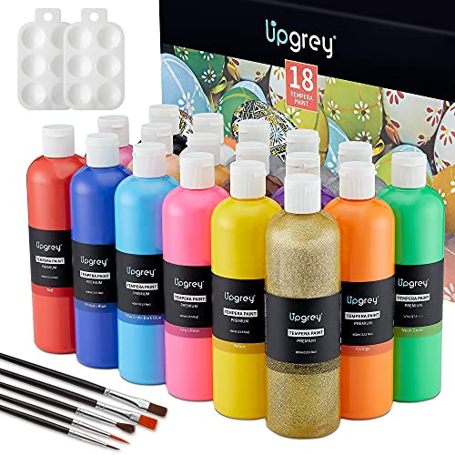Tempera Paints, Kids Paint, 400ML Washable Paints of 18 Colors Non-Toxic Finger Paint Kit Include 10 Basic, 2 Neon, 2 Glitter, 1 Fluorescent, 2 Metallic Colors for Finger, Sponge, Poster Painting and Hobby Painters with Brushes