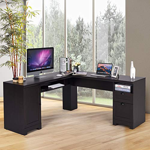 GOFLAME 66' Modern L-Shaped Desk with Drawers, PC Laptop Corner Table Workstation, Space Saving Computer Desk with Spacious Surface, Writing Table Home Office Computer Desk (Black)