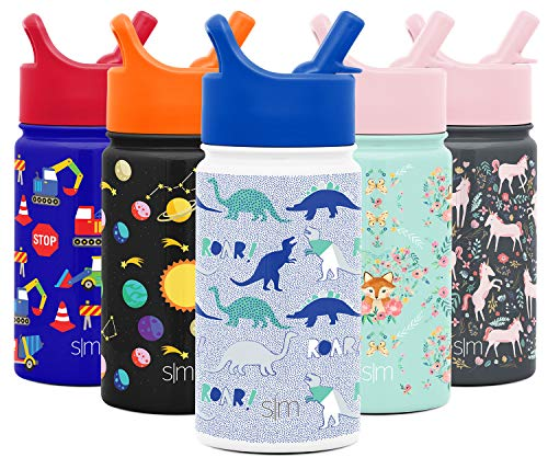 Simple Modern 14oz Summit Kids Water Bottle Thermos with Straw Lid - Dishwasher Safe Vacuum Insulated Double Wall Tumbler Travel Cup 18/8 Stainless Steel - Dinosaur Roar