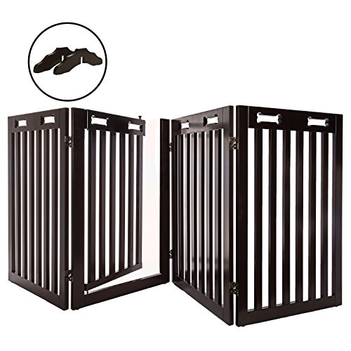 Arf Pets Free Standing Wood Dog Gate with Walk Through Door, Expands Up to 80' Wide, 31.5' High - Bonus Set of Foot Supporters