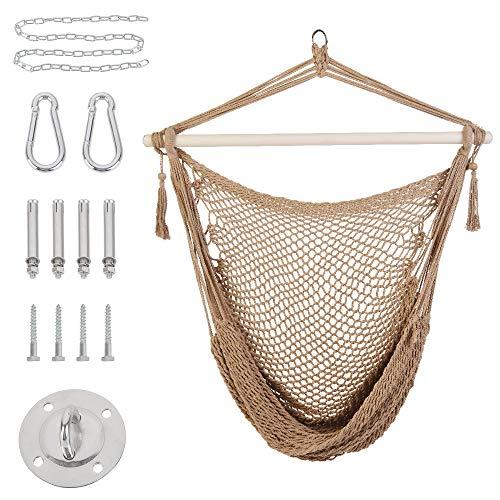 Patio Watcher Hammock Chair Hanging Rope Swing Seat with Hardware Kits, Perfect for Indoor, Outdoor, Home, Bedroom, Patio, Yard, Deck, Garden
