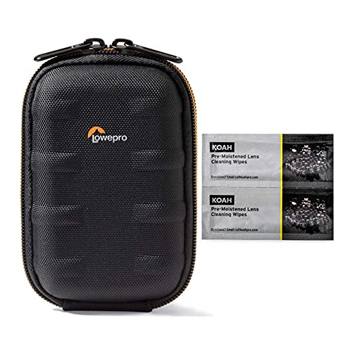 Lowepro Santiago 20 II Case for Compact Point and Shoot Camera (Black) with Koah PRO Pre-Moistened Lens Cleaning Wipes (100-Pack) Bundle (2 Items)