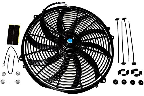 A-Team Performance 130031 Electric Radiator Cooling Fan Cooler Heavy Duty Wide Curved 10 S Blades 12V 3000 CFM Reversible Push or Pull with Mounting Kit Black 16 Inches