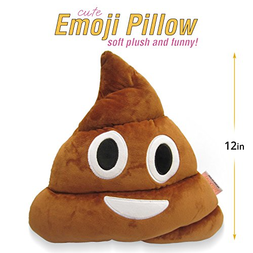 Emoji Cute Pillow Poop Face - Cartoon Brown Stuffed Soft Plush Very Comfortable and Funny - Perfect Fun Item for all Ages 14' (35cm)