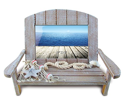 Puzzled Wooden Beach Chair Picture Frame with Starfish & Fishing Net, 6 x 4 Inch Sculptural Photo Holder Intricate Wood Art Handcrafted Tabletop Accessory Nautical Beach Themed Home Accent Décor