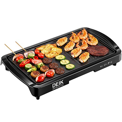 Deik Electric Griddle, 11' x 21', Nonstick 1600W Pancake Griddle, Smokeless Coated Griddle Pan with 5-Level Control with Adjustable Temperature & Oil Drip Tray for Easy Cleaning, Family Sized, Black