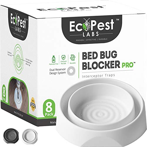 Bed Bug Interceptors – 8 Pack   Bed Bug Blocker (Pro) Interceptor Traps (White)   Insect Trap, Monitor, and Detector for Bed Legs