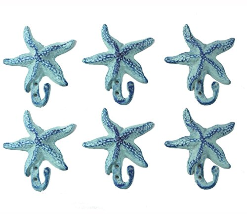 Iron Starfish Hook Set of 2- 5.5' by 4'- Blue Set of 6 Starfishes