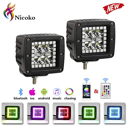 Nicoko 18w 3' Led Work Light with Chaser RGB Halo 10 Solid Colors Over 72 Flashing Modes Headlights Frontlights Flasing Strobe Lights IP 68 Waterproof Free Wiring Harness 1 Year Warranty