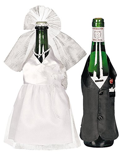 Oriental Trading Wedding Wine Bottle Cover Set Bride & Groom Cute