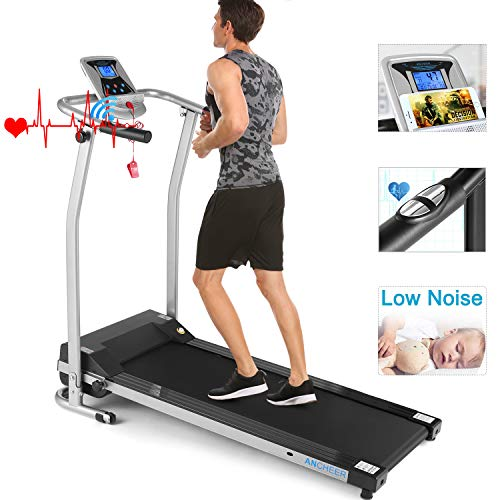 ANCHEER Folding Treadmill, Electric Motorized Treadmill with LCD Monitor, Walking Jogging Running Machine Trainer Equipment for Home & Office Workout Indoor Exercise Machine (Silver)
