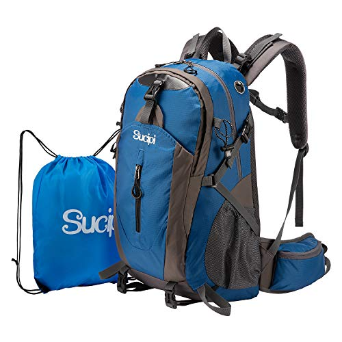 Sucipi Lightweight Hiking Backpack 40L Small Camping Travel Hydration Backpack Daypack for Men Women Blue…