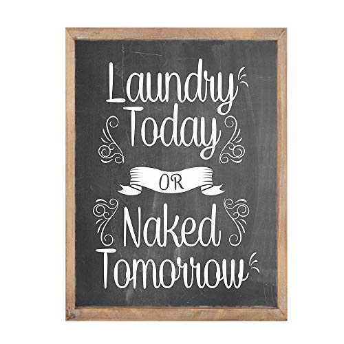 MODE HOME Laundry Today Or Naked Tomorrow Chalkboard Laundry Sign with Wood Frame for Laundry Room,Funny Laundry Sign Rustic Wall Decor for Bathroom