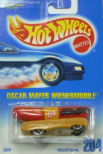 Hot Wheels Oscar Mayer Wienermobile #204 with 5 Dot Wheels on Blue to White Card