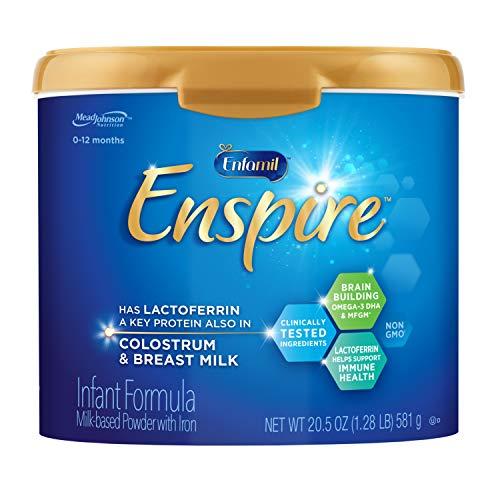 Enfamil Enspire Baby Formula with Lactoferrin (found in Colostrum & Breast Milk) Milk Based Powder, 20.5 Ounce Reusable Tub, Dual Prebiotics, Brain Building & Immune Support, DHA, Iron, Non-GMO, MFGM