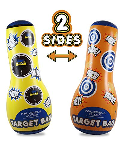 J&A's Inflatable Dudes Target Bag - Double-Sided - (Ninja & Rex) 47 Inches - Bop Bag | Kids Punching Bag| Dinosaur Inflatable Toy| Boxing - Premium Vinyl- Base is Already Filled with Sand