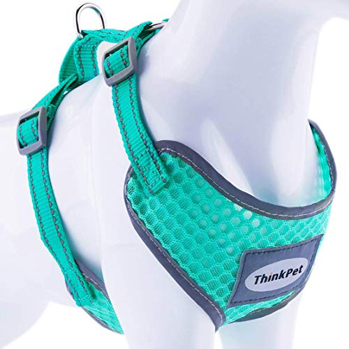 ThinkPet Reflective Breathable Soft Air Mesh No Pull Puppy Choke Free Over Head Vest Ventilation Harness for Puppy Small Medium Dogs and Cats Neon Green Neck 9-15 in/Chest 13-20 in