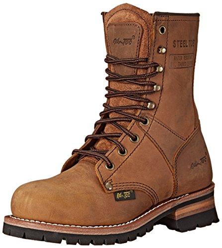 Ad Tec womens Women's 9' Steel Toe Brown-w Logger Boot, Brown, 7.5 US