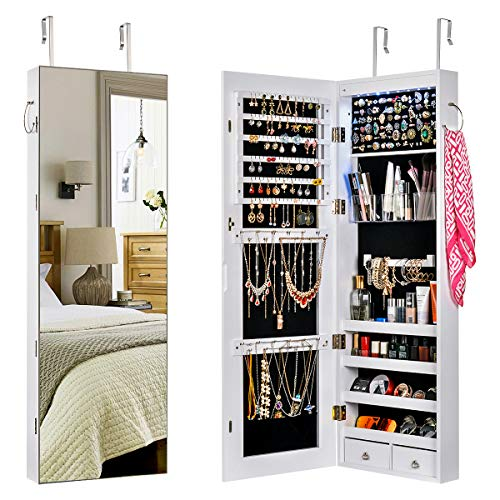 Sunix Mirror Jewelry Cabinet Wall/Door Full Length Lockable Jewelry Armoire Organizer Storage Jewelry Holder with 8 LEDs White