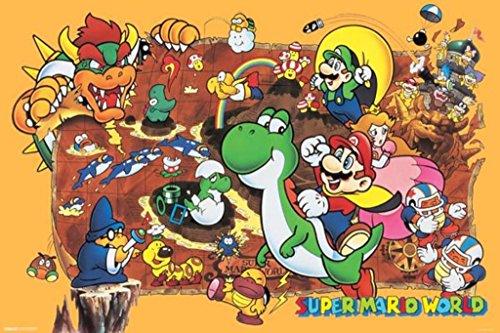 Pyramid America Super Mario World Super Nintendo NES GameSeries Characters Yoshi Luigi Princess Peach Cool Wall Decor Art Print Poster 36x24