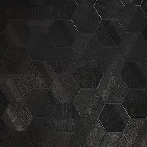76 sq.ft roll Zambaiti Parati Textured Italian wallcoverings Modern Embossed Vinyl Non-Woven Wallpaper Black Hexagon Feature Geometric Design Textures coverings 3D Wall Covering