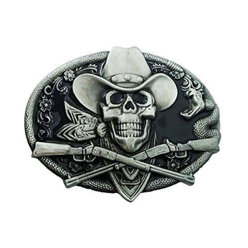QUKE Western Cowboy Ghost Skeleton Skull with Rifles Guns Belt Buckle Black Enamel