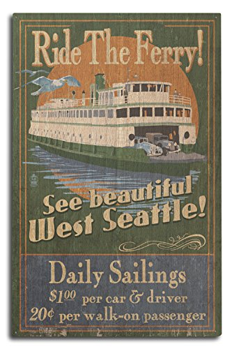 Lantern Press West Seattle - Ferry Vintage Sign (10x15 Wood Wall Sign, Wall Decor Ready to Hang)