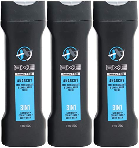 Axe Anarchy 3-in-1 Shampoo, Conditioner & Body Wash, Dark Pomegranate & Sandalwood Scent, 12 Ounce (Pack of 3)