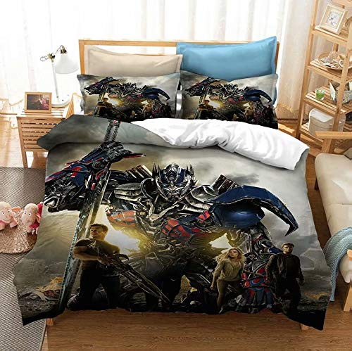 Siyarar Boys Bedding Sets Twin Size Transformers for Teens Optimus Prime Comforter Cover 2 Pieces Including 1 Duvet Cover and 1 Pillowcase T2