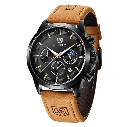 BENYAR - Wrist Watch for Men, Genuine Leather Strap Watches, Quartz Movement, Waterproof Analog Chronograph and Mechanical Business Watches