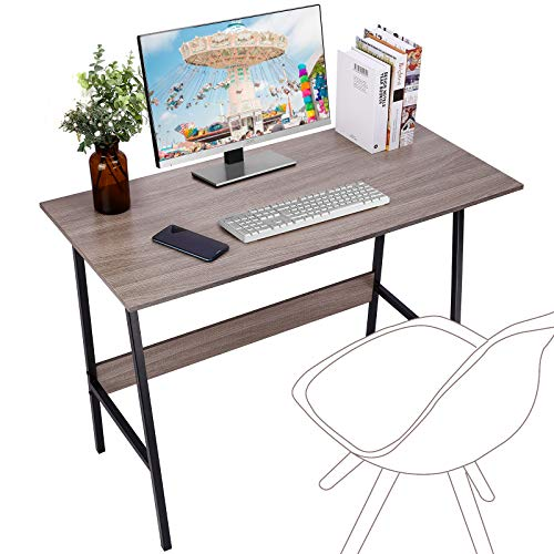Viewee Computer Student Desk, Easy Assembly, Laptop Study Table 39' Home Office Writing Desk with Table Edge Protectors, Sturdy Desk with Trapezoidal Structure & Wood Block Support, Sand Wash Tan