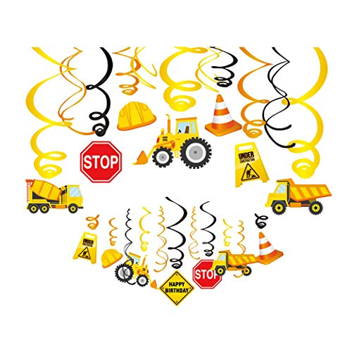 Kristin Paradise 30Ct Construction Hanging Swirl Decorations, Traffic Zone Birthday Theme Streamers, Construction Trucks Party Supplies, Kids/Boy/Toddler First Favors, Stop Sign Worker Decor