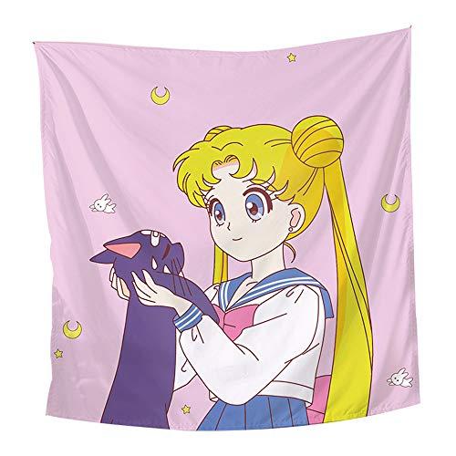 Mxdfafa Anime Sailor Moon Backgrand Cloth Wall Painting Home Decor Lovely Tapestry Barrier Curtain Xmas (F,51X59 inch)