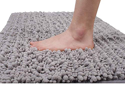 Yimobra Original Luxury Chenille Bath Mat, 31.5 X 19.8 Inches, Soft Shaggy and Comfortable, Large Size, Super Absorbent and Thick, Non-Slip, Machine Washable, Perfect for Bathroom, Gray