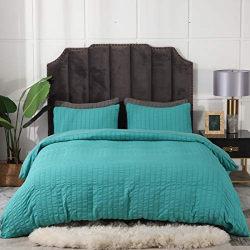 3 Pieces Teal Duvet Cover Set, Seersucker Textured Duvet Cover Set, Lightweight Soft Microfiber Duvet Cover Set, Hotel Quality King Quilt Bedding Set (Teal, King)