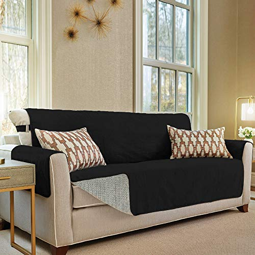 Gorilla Grip Original Slip Resistant Large Sofa Protector for Seat Width up to 70 Inch, Patent Pending Suede-Like Furniture Slipcover, 2 Inch Straps, Couch Slip Cover Throw for Dogs, Sofa, Jet Black