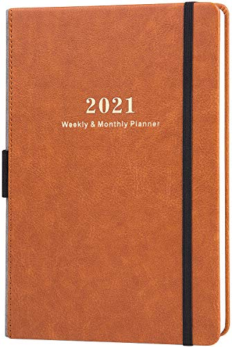 2021 Planner - Planner 2021, Jan. 2021 - Dec. 2021, Weekly & Monthly Planner, 5.75' X 8.25', Calendar Stickers, A5 Premium Thicker Paper with Pen Holder, Inner Pocket and 88 Notes Pages