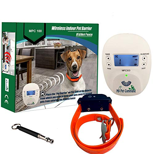 My Pet Command, Indoor Pet Barrier, Hidden Fence for Dogs and Cats Shock Collar, Rechargeable Wireless Indoor Pet Containment System with Adjustable Range